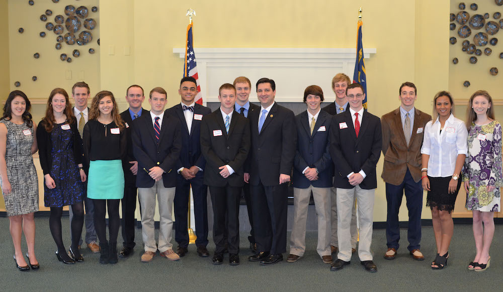 Congressman Rouzer with students at the NC-07 Academy Nomination Reception hosted in Wilmington on February 20, 2016.